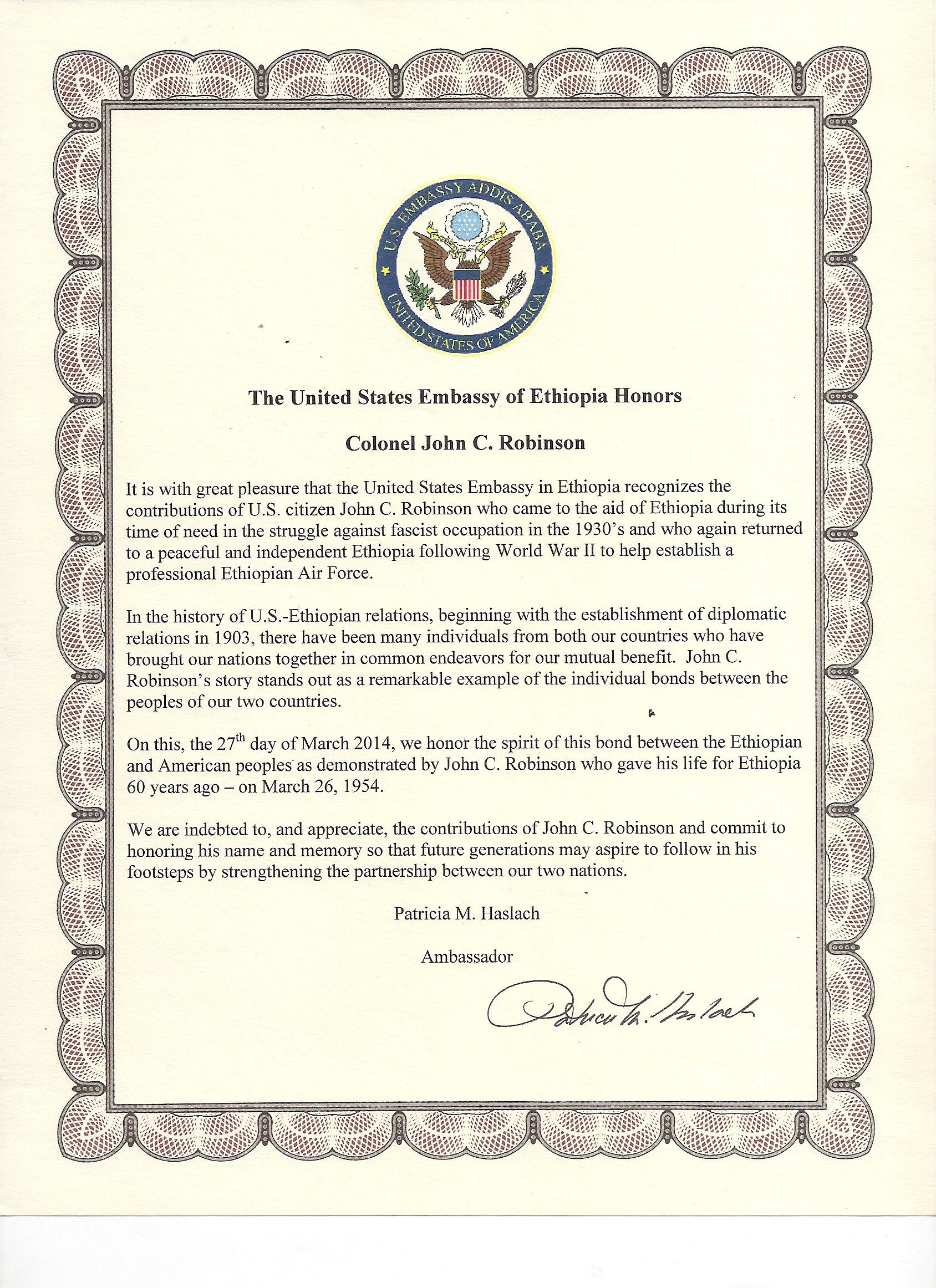 US embassy Proclamation