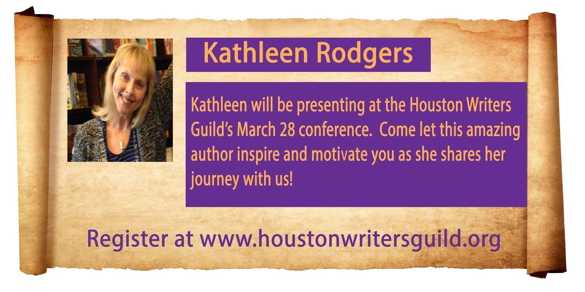 Houston Writers Guild announcement for Kathleenmrodgers   workshop March 28